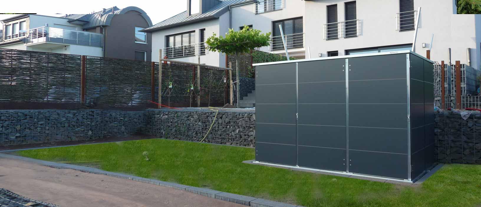 gartenhaus mit flachdach garten q gmbh. Black Bedroom Furniture Sets. Home Design Ideas