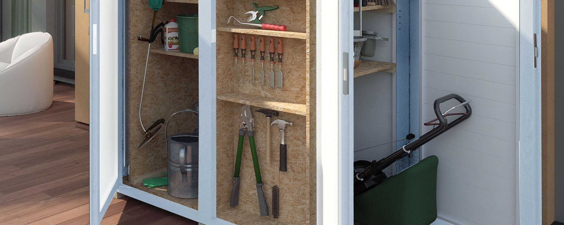 Gartengeräteschrank | moderner Geräteschrank aus Holz - Garten-Q GmbH