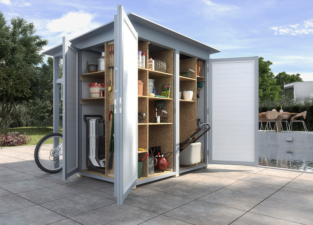 pultdach gartenhaus mit stauraumkonzept garten q gmbh. Black Bedroom Furniture Sets. Home Design Ideas